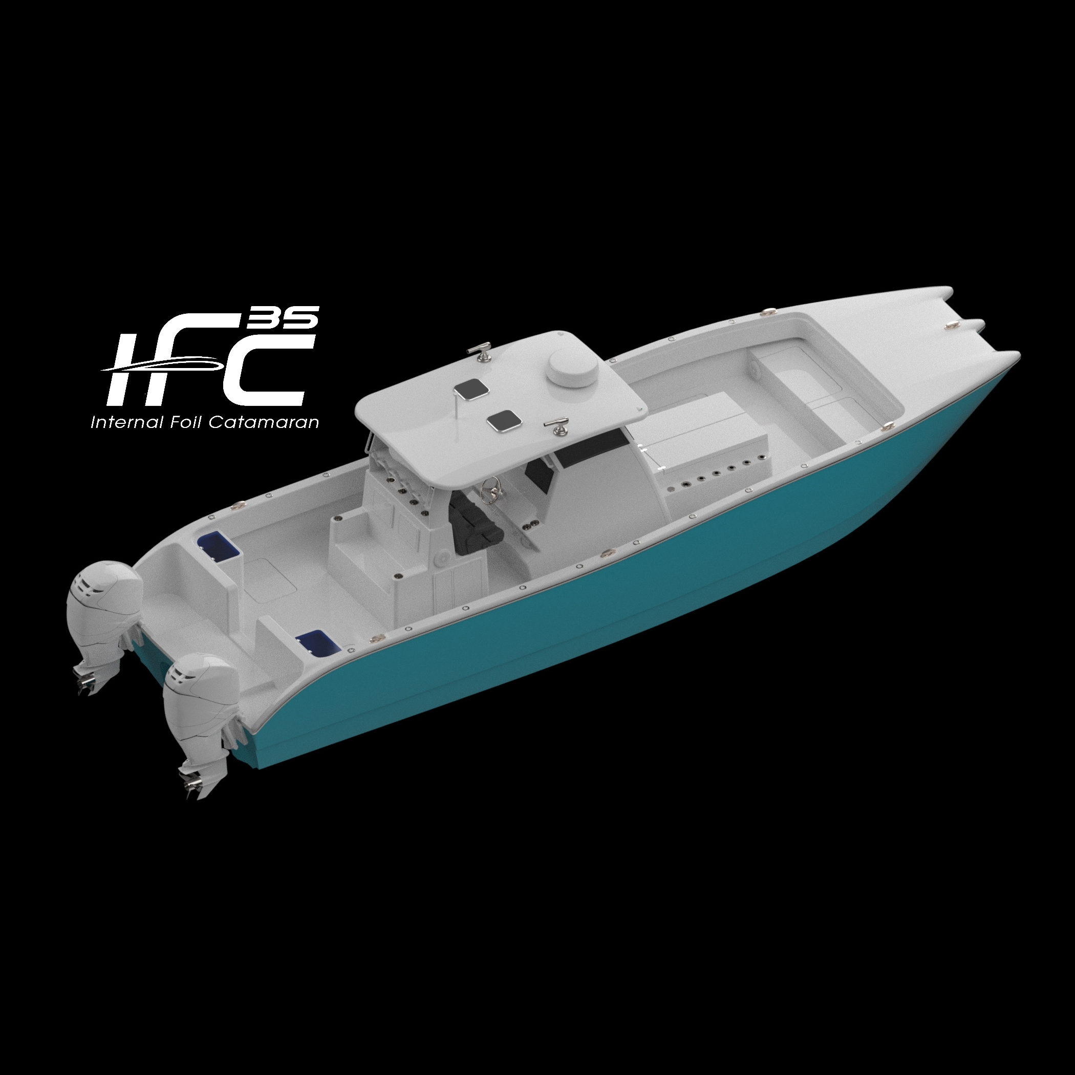 Shows the 35' Internal Foiling Catamaran by Insetta