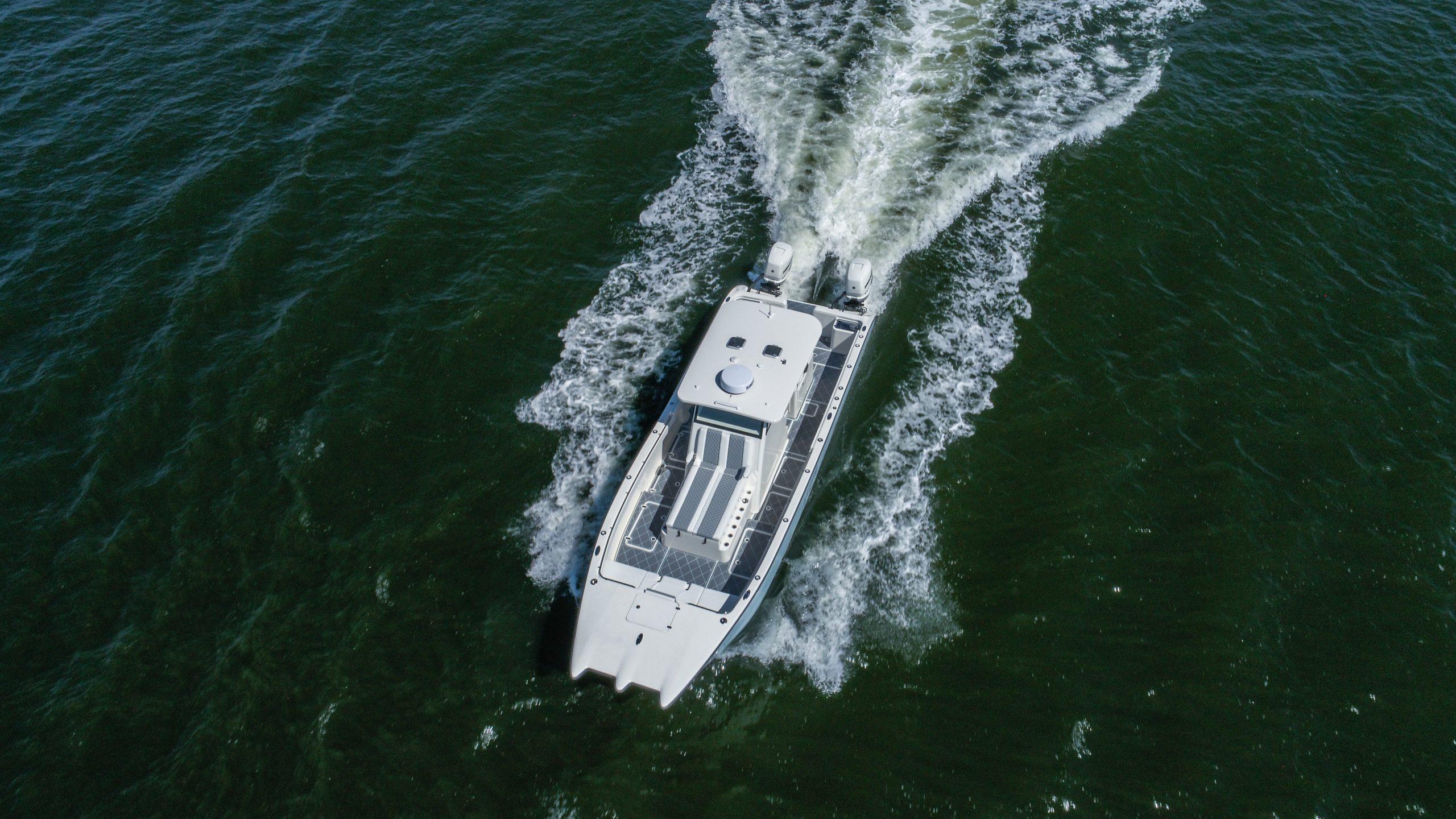 Overhead view of Foiling Catamaran
